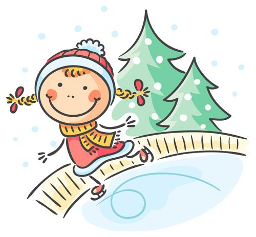happy winter children cartoon vector 01