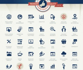 Internet marketing business icons vector
