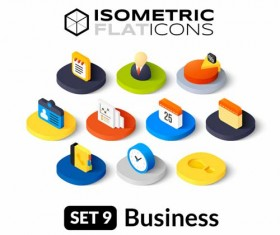 Isometric flat business icons vector 01