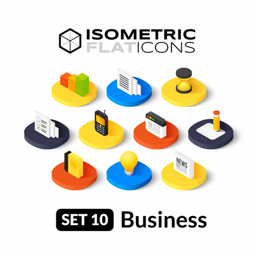 Isometric flat business icons vector 02