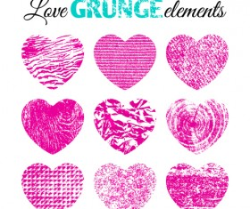 Love grunge heart elements vector 01