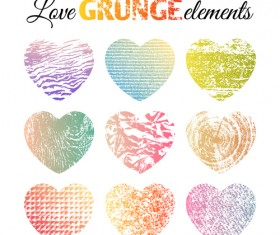 Love grunge heart elements vector 02