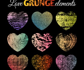 Love grunge heart elements vector 03