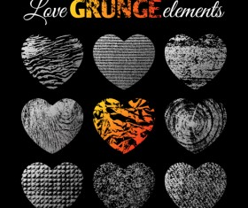 Love grunge heart elements vector 04