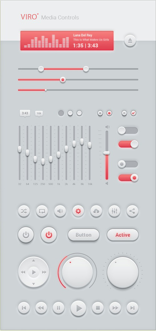 Media controls button psd material