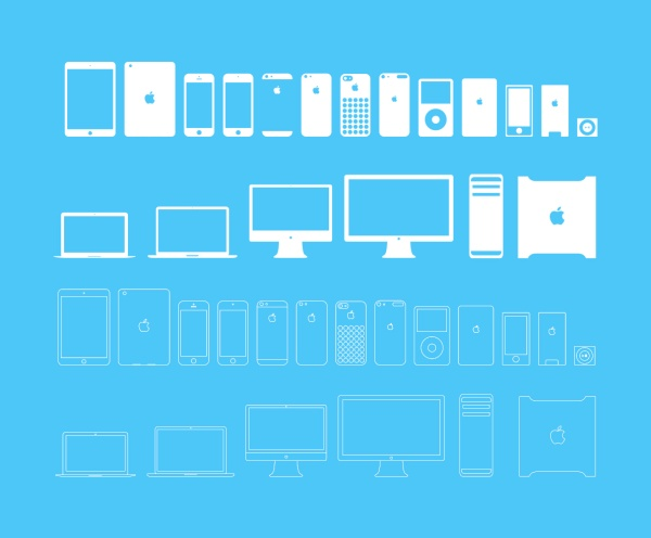 Mobile phones and computers and monitors icons