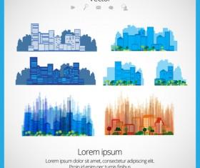 Modern Urban Landscapes set vectors 03