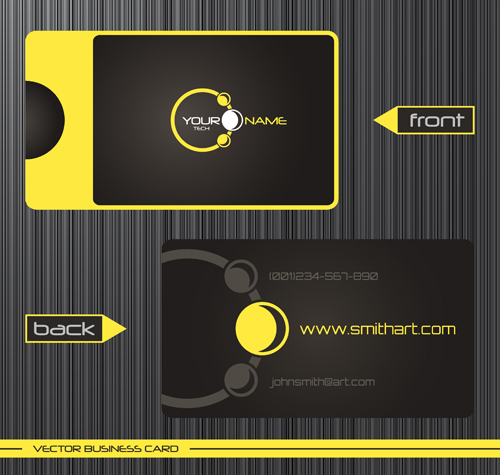Modern business cards front and back template vector 10 for Front and back business card template