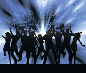 Music party backgrounds with people silhouettes vectors 04