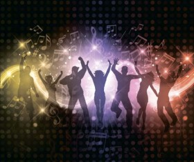 Music party backgrounds with people silhouettes vectors 08