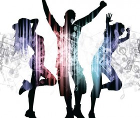 Music party backgrounds with people silhouettes vectors 10