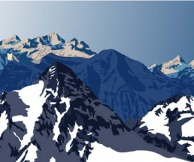 Mysterious snow mountain landscape vector graphics 03
