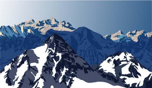 Mysterious snow mountain landscape vector graphics 03