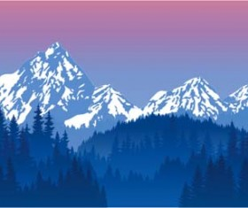 Mysterious snow mountain landscape vector graphics 04