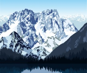 Mysterious snow mountain landscape vector graphics 05