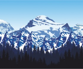 Mysterious snow mountain landscape vector graphics 06