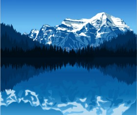 Mysterious snow mountain landscape vector graphics 09