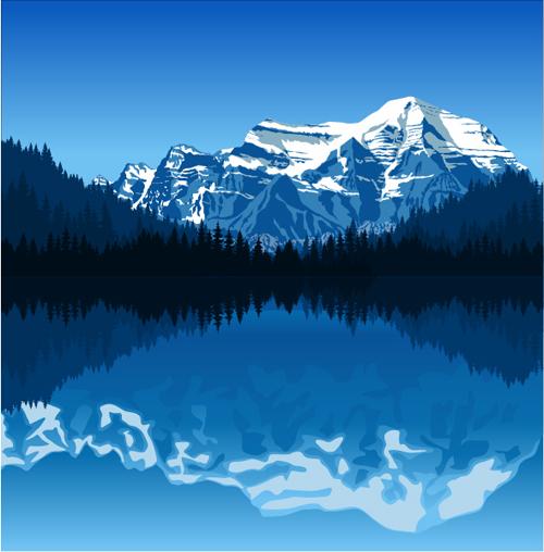 Mysterious snow mountain landscape vector graphics 09