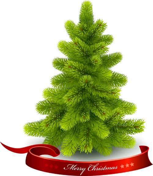 needles christmas tree with red ribbon vector - Christmas Tree Plant