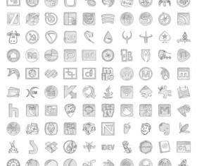 Pencil sketch style icon set