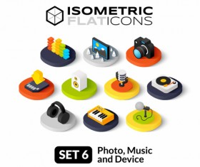 Photo with music and device flat icons vector 01