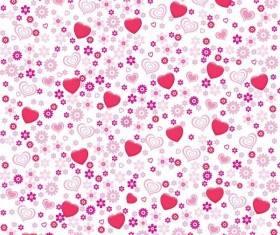 Pink heart-shaped flower pattern vector set