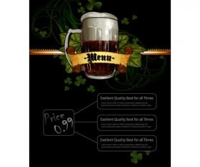 Pub beer menu vintage styles vector 04