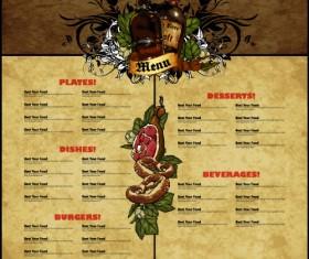 Pub beer menu vintage styles vector 07