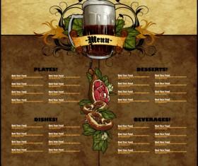 Pub beer menu vintage styles vector 09