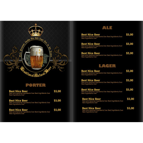 Pub Beer Menu Vintage Styles Vector   Vector Cover Free Download