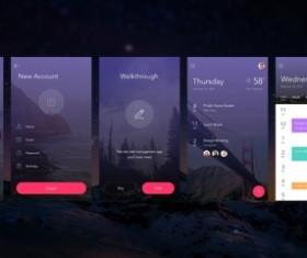 Purple Styles Interface App psd material