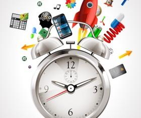 Realistic alarm clock design vector 02
