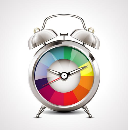 Realistic alarm clock design vector 03