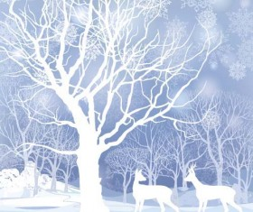 Reindeer and snow landscape christmas background vector 01