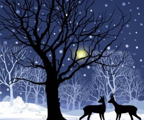 Reindeer and snow landscape christmas background vector 02