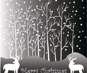 Reindeer and snow landscape christmas background vector 03