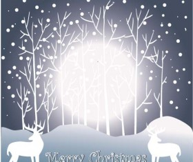 Reindeer and snow landscape christmas background vector 04