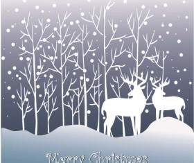 Reindeer and snow landscape christmas background vector 05