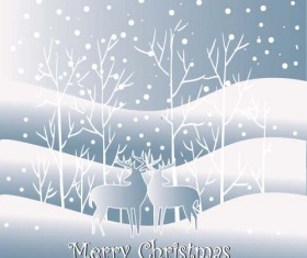 Reindeer and snow landscape christmas background vector 06
