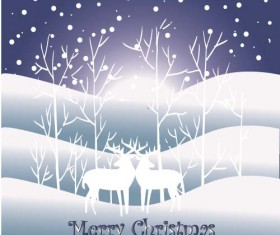 Reindeer and snow landscape christmas background vector 07