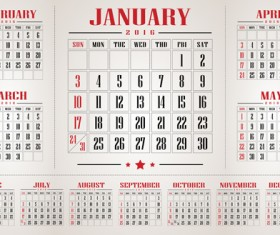 Retro 2016 calendars design vector material 02