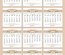 Retro 2016 calendars design vector material 04
