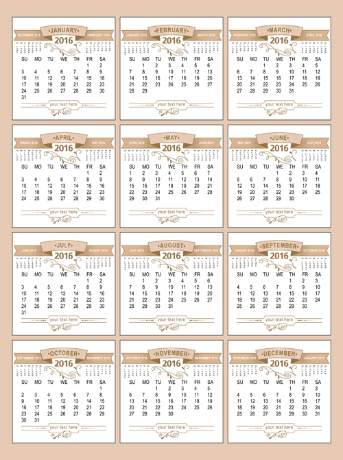 Calendar Vintage Vector : Retro calendars design vector material