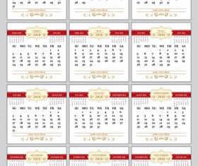 Retro 2016 calendars design vector material 05