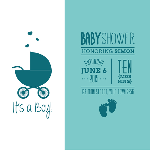 Retro Baby Shower Cards 03 Vector Free Download