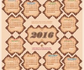 Retro decor frame calendar 2016 vintage vector
