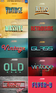 Retro vintage text photoshop styles