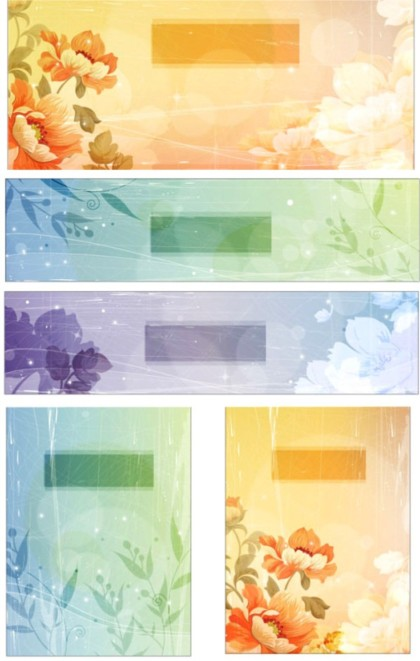 Retro style flowers background with banner vector