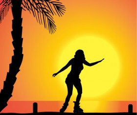 Rollerblading girl silhouetter with sunset background vector