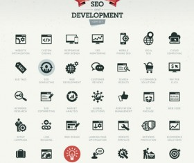 SEO with develpoment icons set
